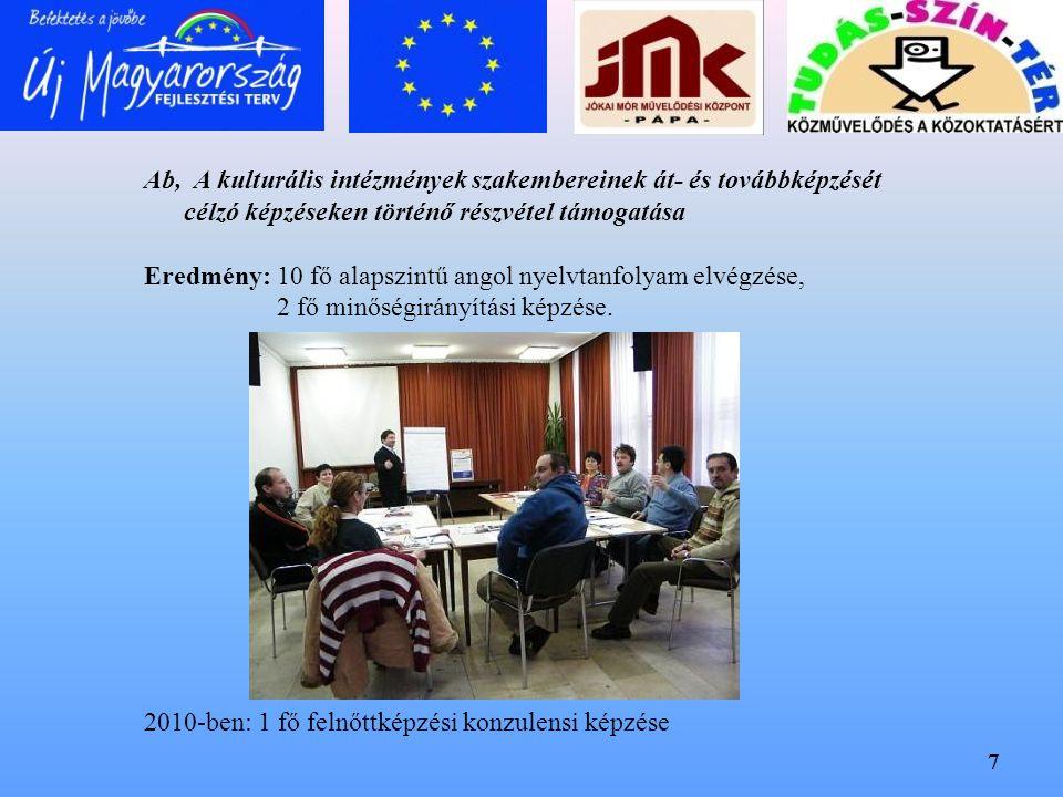 7 Ab, A kulturális intézmények szakembereinek át- és továbbképzését célzó képzéseken történő részvétel támogatása Eredmény: 10 fő alapszintű angol nye