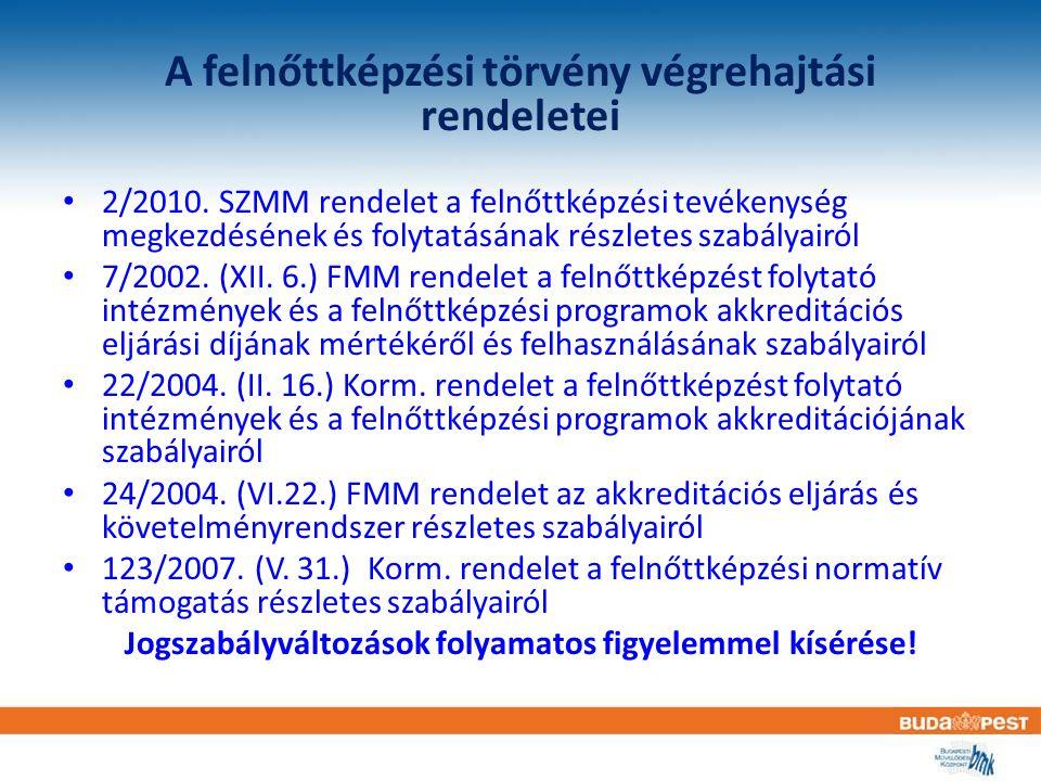A felnőttképzési törvény végrehajtási rendeletei 2/2010. SZMM rendelet a felnőttképzési tevékenység megkezdésének és folytatásának részletes szabályai