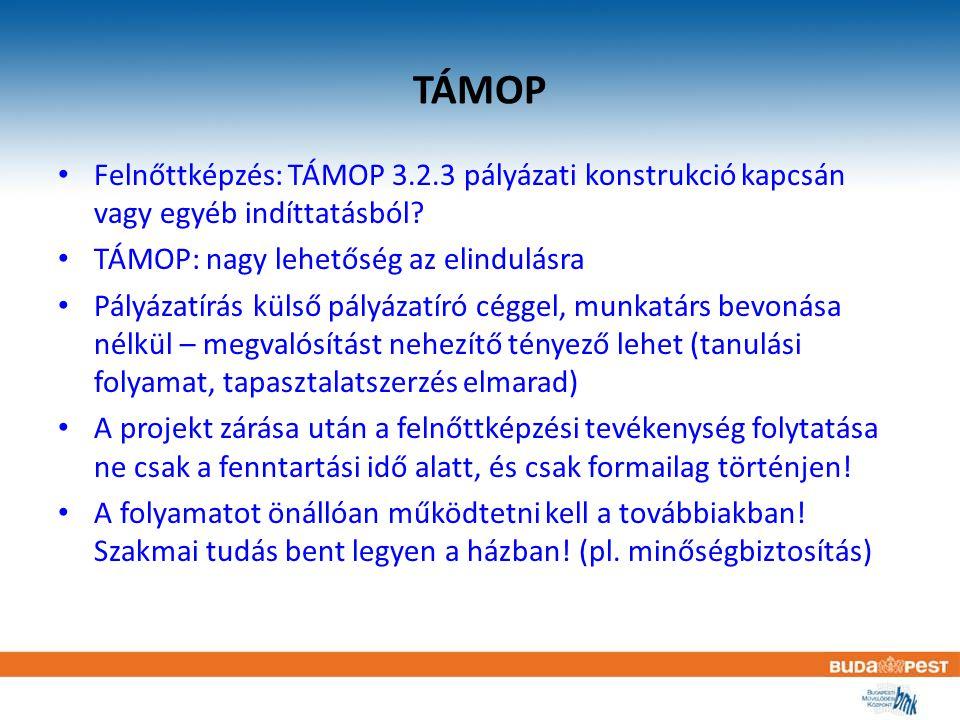 TÁMOP Felnőttképzés: TÁMOP 3.2.3 pályázati konstrukció kapcsán vagy egyéb indíttatásból? TÁMOP: nagy lehetőség az elindulásra Pályázatírás külső pályá