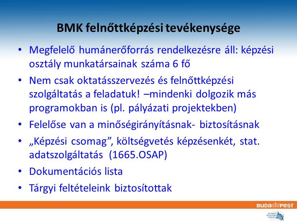 BMK felnőttképzési tevékenysége Megfelelő humánerőforrás rendelkezésre áll: képzési osztály munkatársainak száma 6 fő Nem csak oktatásszervezés és fel