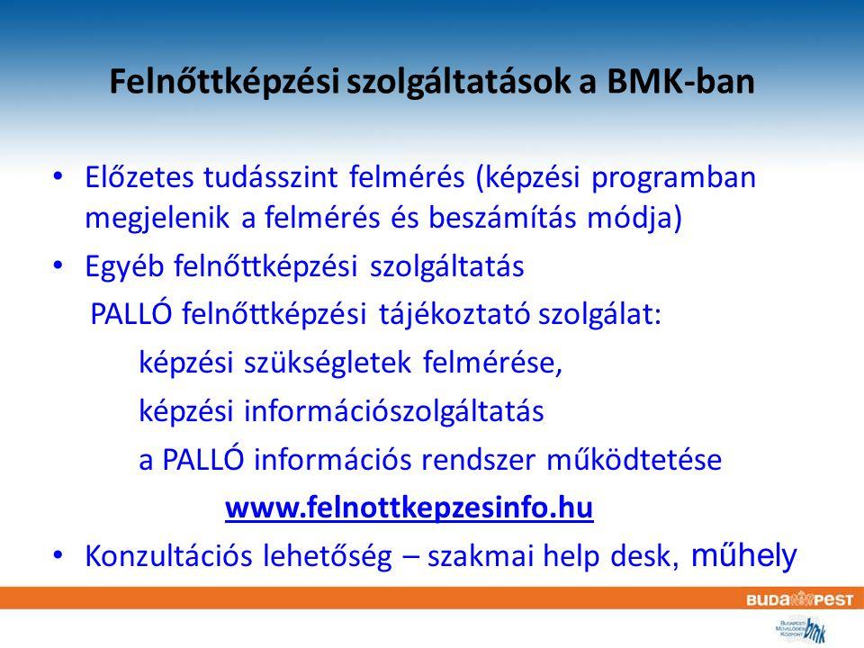 Felnőttképzési szolgáltatások a BMK-ban Előzetes tudásszint felmérés (képzési programban megjelenik a felmérés és beszámítás módja) Egyéb felnőttképzé