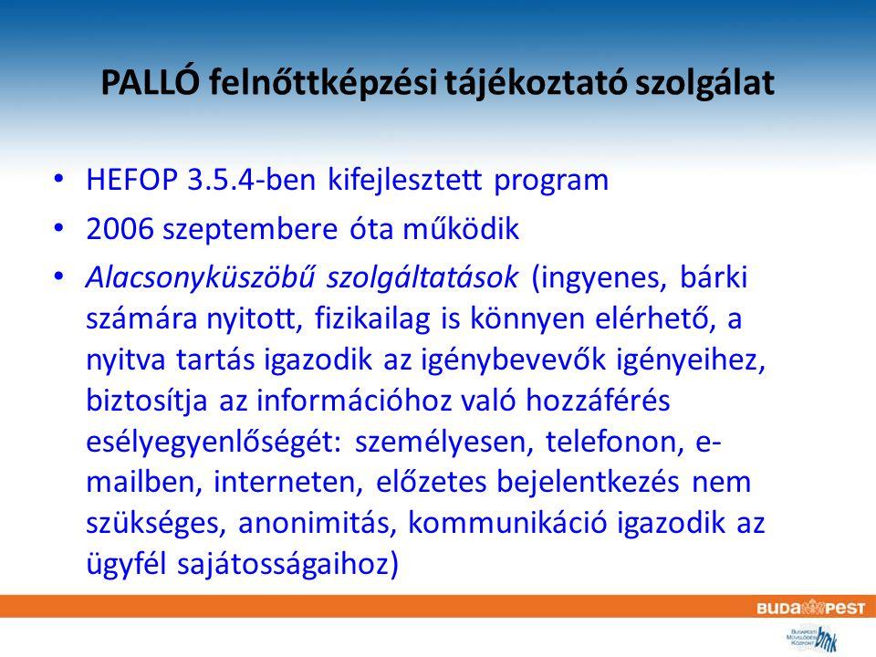 PALLÓ felnőttképzési tájékoztató szolgálat HEFOP 3.5.4-ben kifejlesztett program 2006 szeptembere óta működik Alacsonyküszöbű szolgáltatások (ingyenes