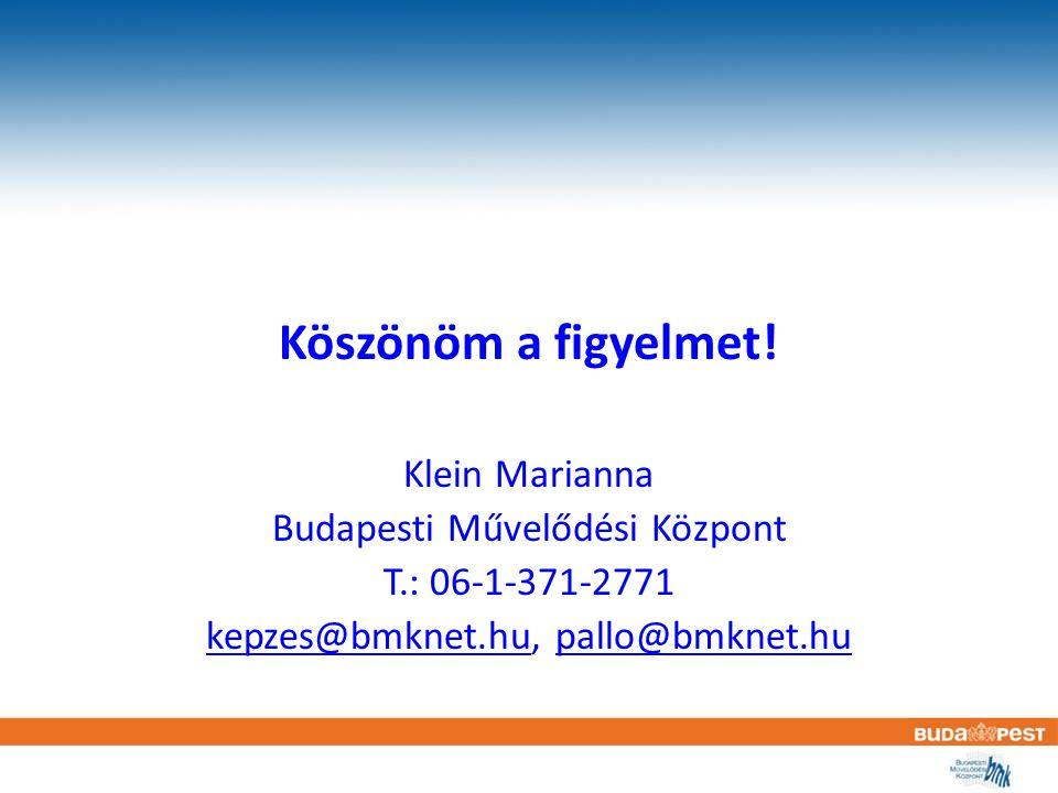 Köszönöm a figyelmet! Klein Marianna Budapesti Művelődési Központ T.: 06-1-371-2771 kepzes@bmknet.hukepzes@bmknet.hu, pallo@bmknet.hupallo@bmknet.hu