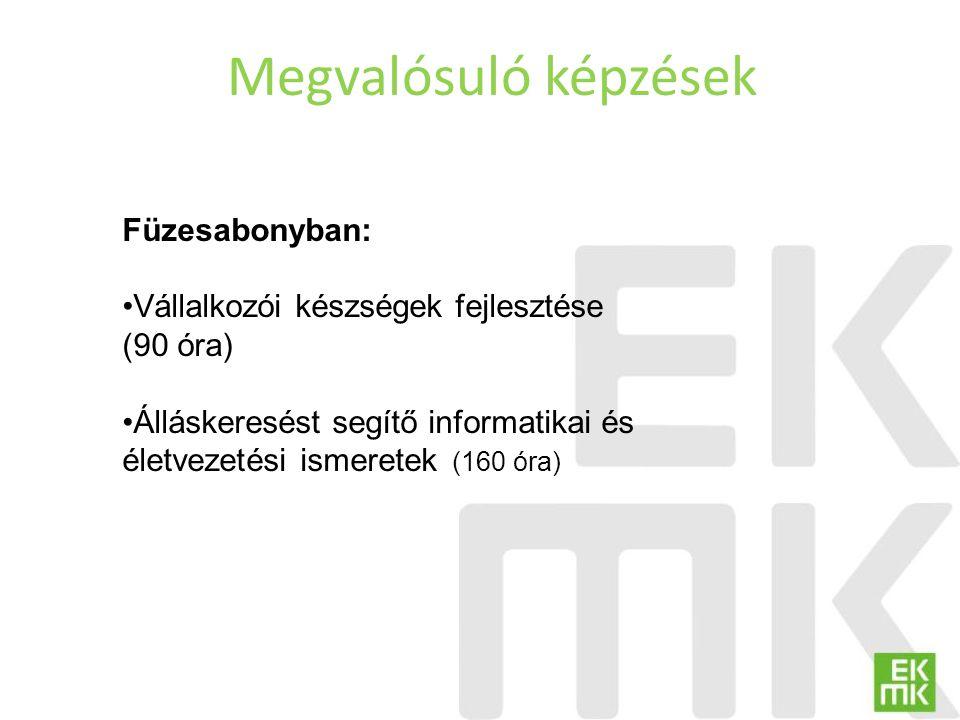 Megvalósuló képzések Füzesabonyban: Vállalkozói készségek fejlesztése (90 óra) Álláskeresést segítő informatikai és életvezetési ismeretek (160 óra)
