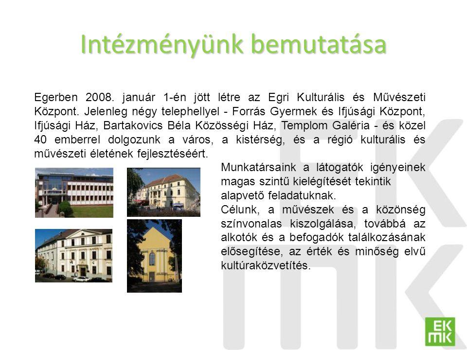 Intézményünk bemutatása Egerben 2008. január 1-én jött létre az Egri Kulturális és Művészeti Központ. Jelenleg négy telephellyel - Forrás Gyermek és I