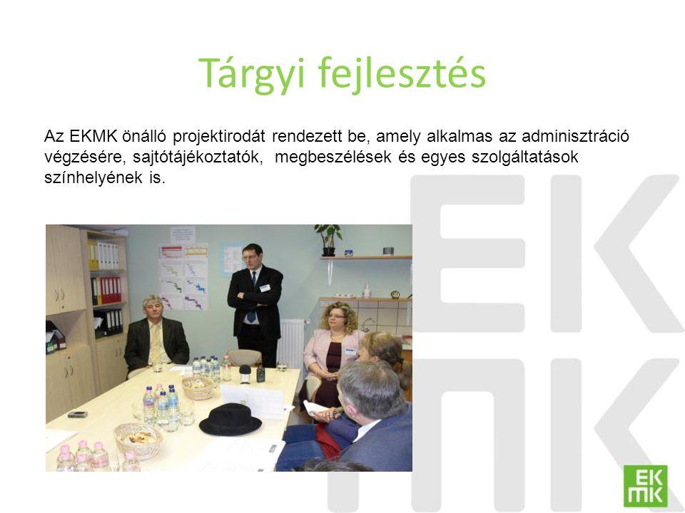 Tárgyi fejlesztés Az EKMK önálló projektirodát rendezett be, amely alkalmas az adminisztráció végzésére, sajtótájékoztatók, megbeszélések és egyes szo