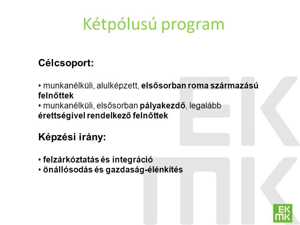 Kétpólusú program Célcsoport: munkanélküli, alulképzett, elsősorban roma származású felnőttek munkanélküli, elsősorban pályakezdő, legalább érettségiv