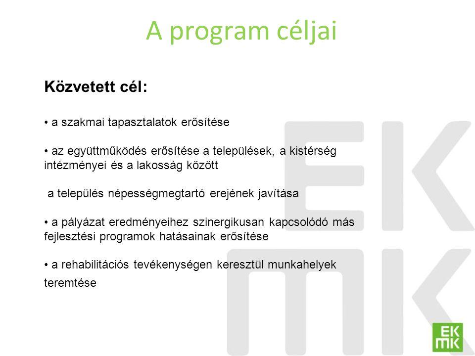 A program céljai Közvetett cél: a szakmai tapasztalatok erősítése az együttműködés erősítése a települések, a kistérség intézményei és a lakosság közö