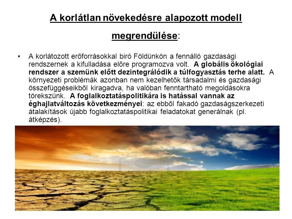 A korlátlan növekedésre alapozott modell megrendülése: A korlátozott erőforrásokkal biró Földünkön a fennálló gazdasági rendszernek a kifulladása előre programozva volt.