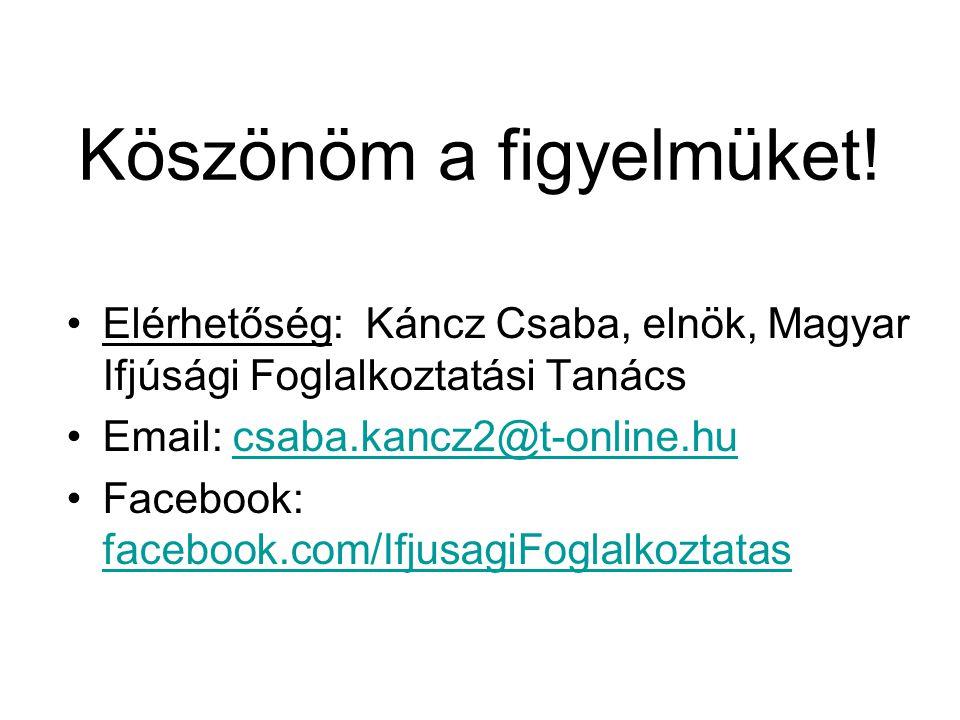 Köszönöm a figyelmüket! Elérhetőség: Káncz Csaba, elnök, Magyar Ifjúsági Foglalkoztatási Tanács Email: csaba.kancz2@t-online.hucsaba.kancz2@t-online.h