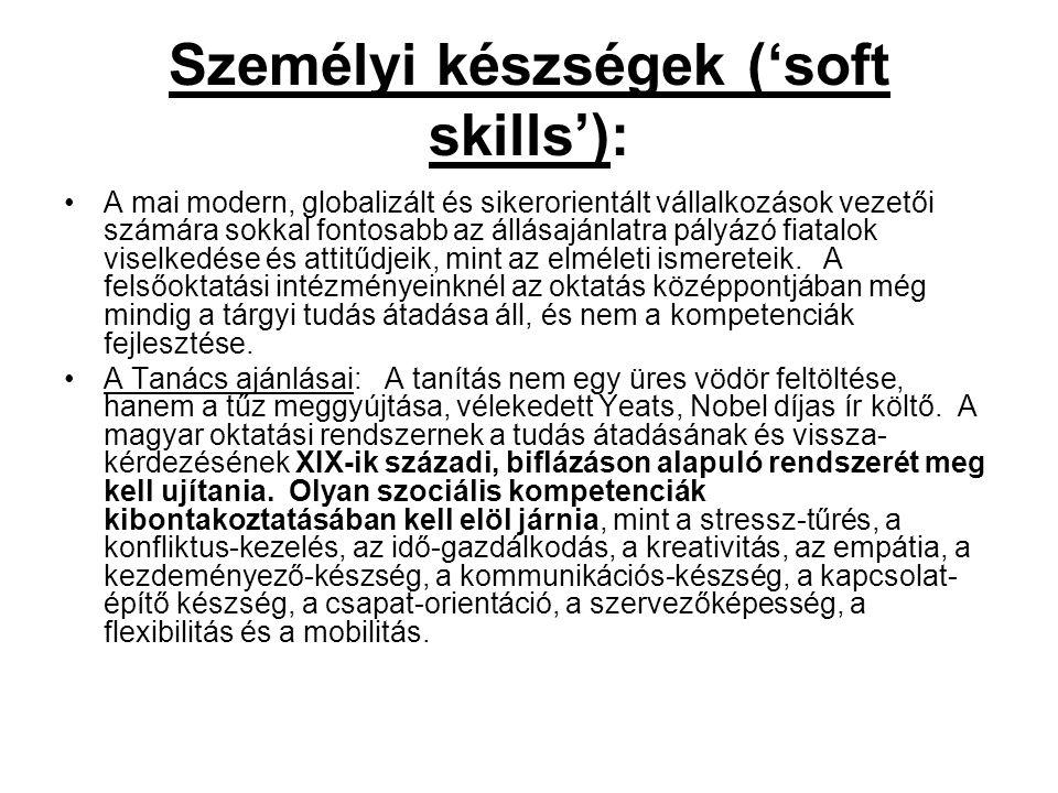 Személyi készségek ('soft skills'): A mai modern, globalizált és sikerorientált vállalkozások vezetői számára sokkal fontosabb az állásajánlatra pályá