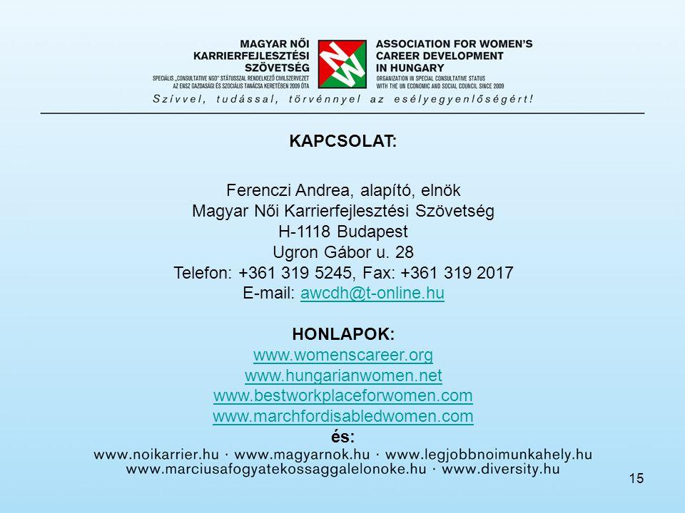 15 KAPCSOLAT: Ferenczi Andrea, alapító, elnök Magyar Női Karrierfejlesztési Szövetség H-1118 Budapest Ugron Gábor u.