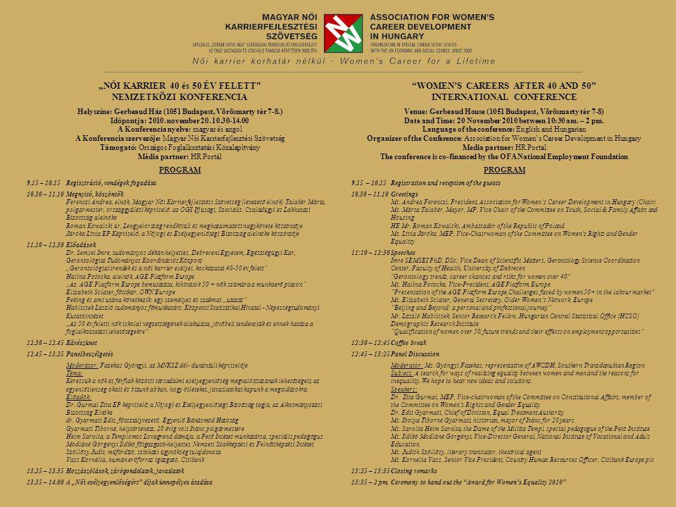 """""""NŐI KARRIER 40 és 50 ÉV FELETT NEMZETKÖZI KONFERENCIA Helyszíne: Gerbeaud Ház (1051 Budapest, Vörösmarty tér 7-8.) Időpontja: 2010."""