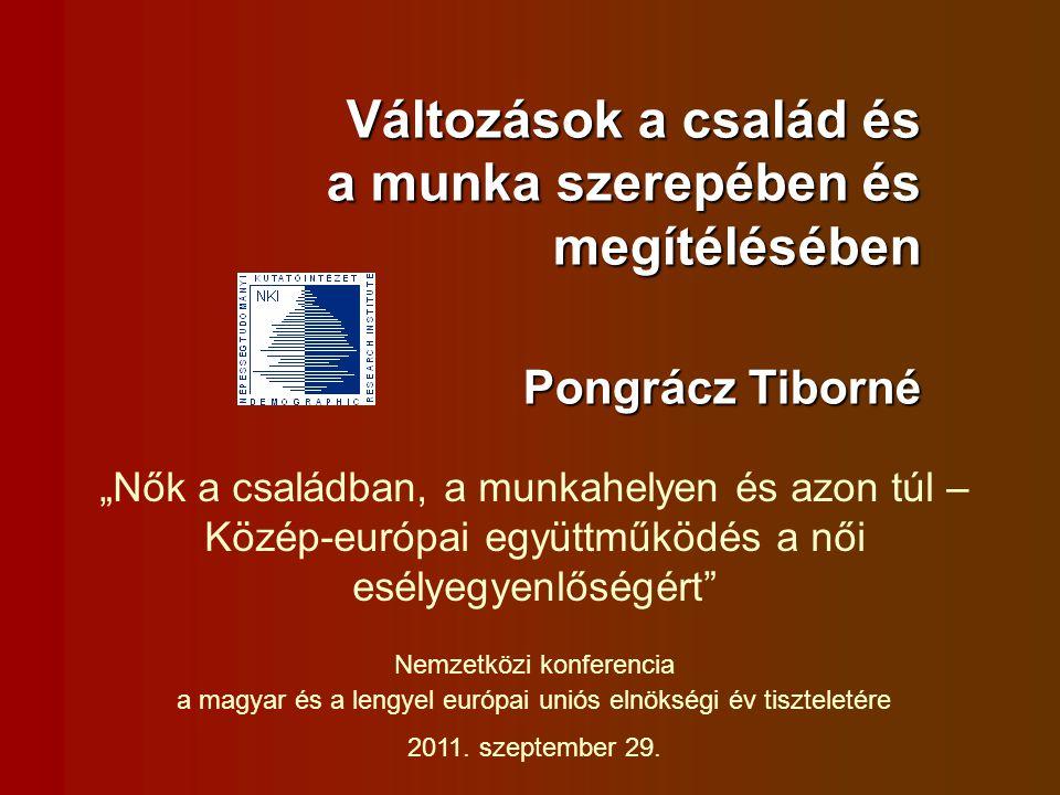 """Változások a család és a munka szerepében és megítélésében Pongrácz Tiborné """"Nők a családban, a munkahelyen és azon túl – Közép-európai együttműködés a női esélyegyenlőségért Nemzetközi konferencia a magyar és a lengyel európai uniós elnökségi év tiszteletére 2011."""