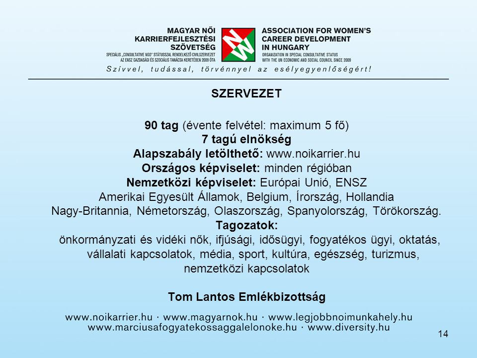 14 SZERVEZET 90 tag (évente felvétel: maximum 5 fő) 7 tagú elnökség Alapszabály letölthető: www.noikarrier.hu Országos képviselet: minden régióban Nem