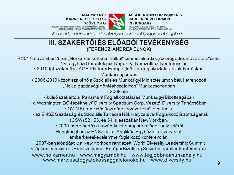 9 III. SZAKÉRTŐI ÉS ELŐADÓI TEVÉKENYSÉG (FERENCZI ANDREA ELNÖK) 2011.