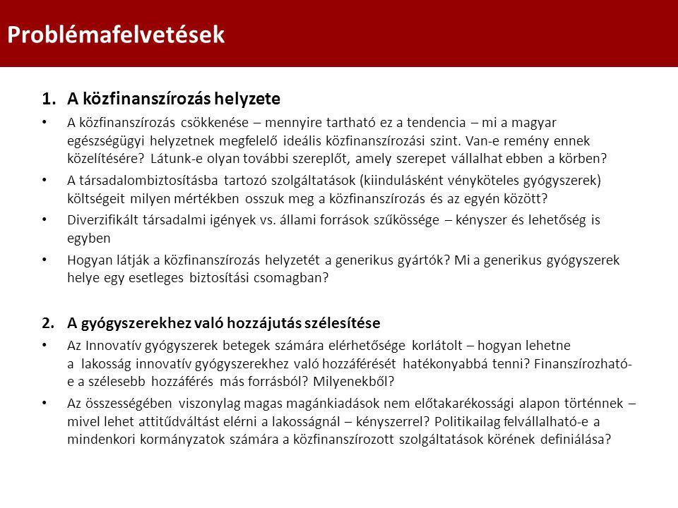 1.A közfinanszírozás helyzete A közfinanszírozás csökkenése – mennyire tartható ez a tendencia – mi a magyar egészségügyi helyzetnek megfelelő ideális