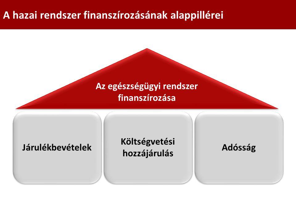 Járulékbevételek Költségvetési hozzájárulás Adósság Az egészségügyi rendszer finanszírozása A hazai rendszer finanszírozásának alappillérei