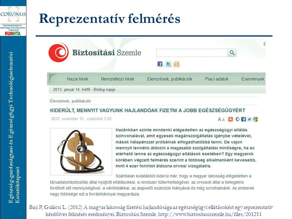 Reprezentatív felmérés Baji P, Gulácsi L. (2012) A magyar lakosság fizetési hajlandósága az egészségügyi ellátásokért egy reprezentatív kérdőíves felm