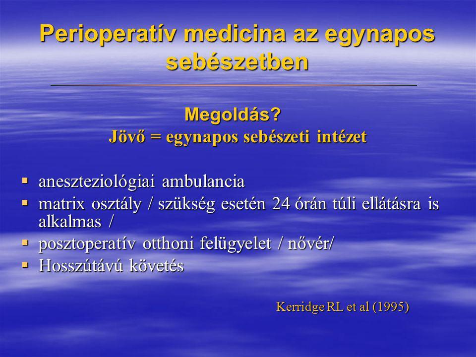Perioperatív medicina az egynapos sebészetben Megoldás? Megoldás? Jövő = egynapos sebészeti intézet  aneszteziológiai ambulancia  matrix osztály / s
