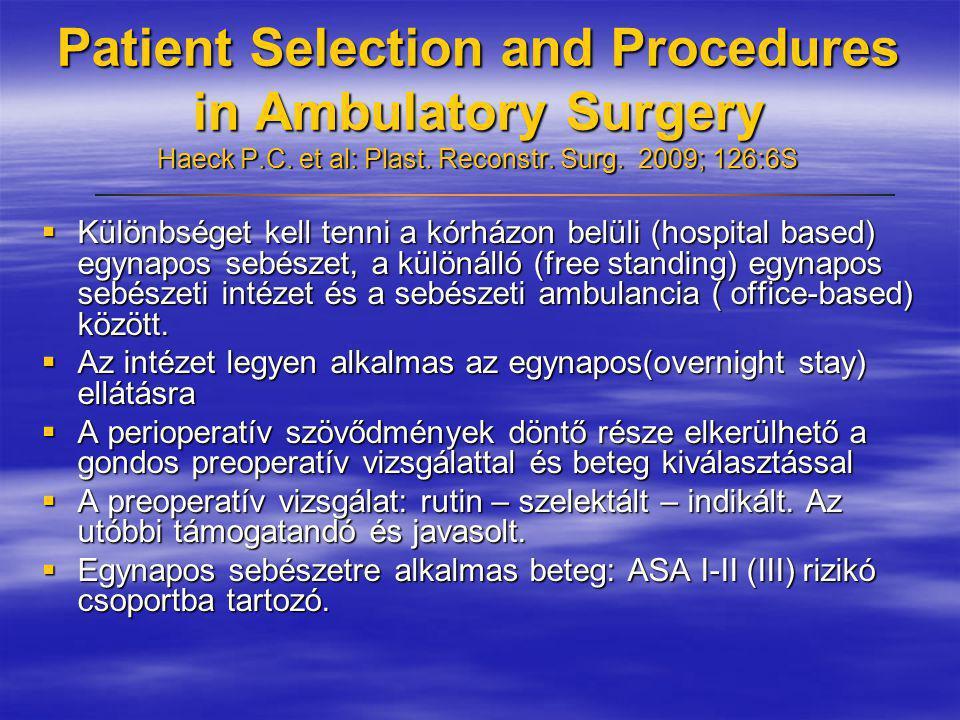 Patient Selection and Procedures in Ambulatory Surgery Haeck P.C. et al: Plast. Reconstr. Surg. 2009; 126:6S  Különbséget kell tenni a kórházon belül