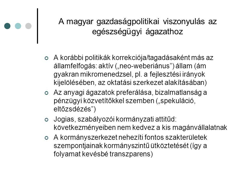 """A magyar gazdaságpolitikai viszonyulás az egészségügyi ágazathoz A korábbi politikák korrekciója/tagadásaként más az államfelfogás: aktív (""""neo-weberi"""