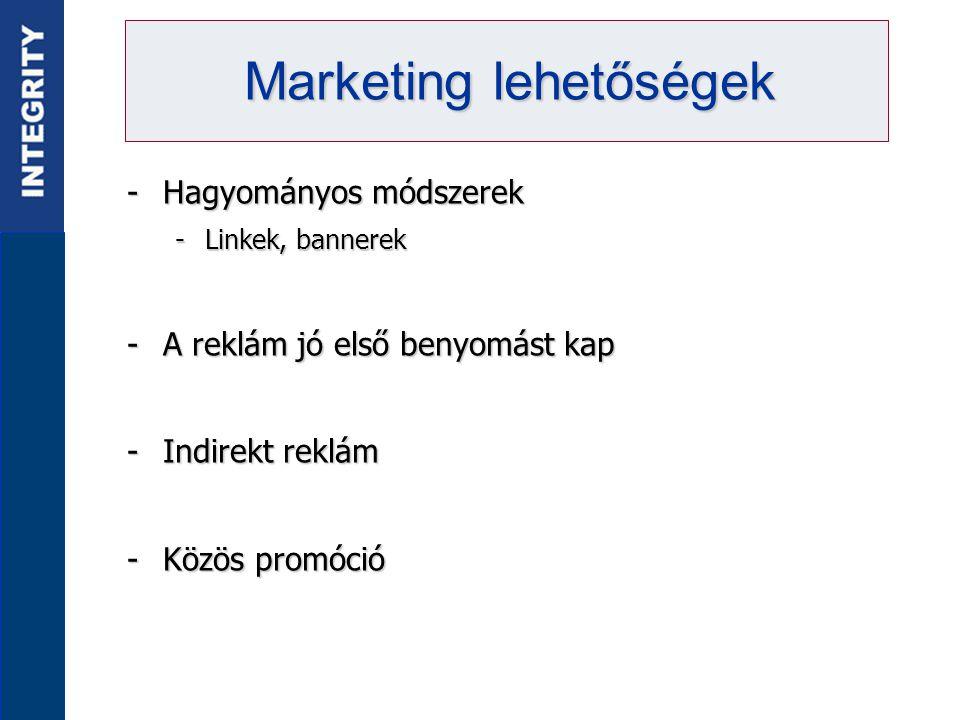 -Hagyományos módszerek -Linkek, bannerek -A reklám jó első benyomást kap -Indirekt reklám -Közös promóció Marketing lehetőségek