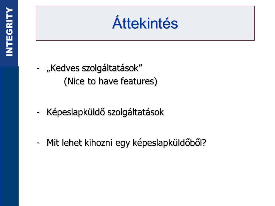 """-""""Kedves szolgáltatások (Nice to have features) -Képeslapküldő szolgáltatások -Mit lehet kihozni egy képeslapküldőből."""