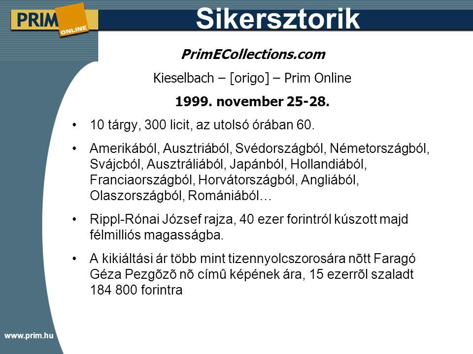 www.prim.hu Sikersztorik PrimECollections.com Kieselbach – [origo] – Prim Online 1999.