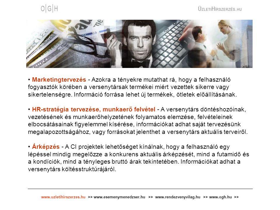 www.uzletihirszerzes.hu >> www.esemenymenedzser.hu >> www.rendezvenyvilag.hu >> www.ogh.hu >> Marketingtervezés - Azokra a tényekre mutathat rá, hogy