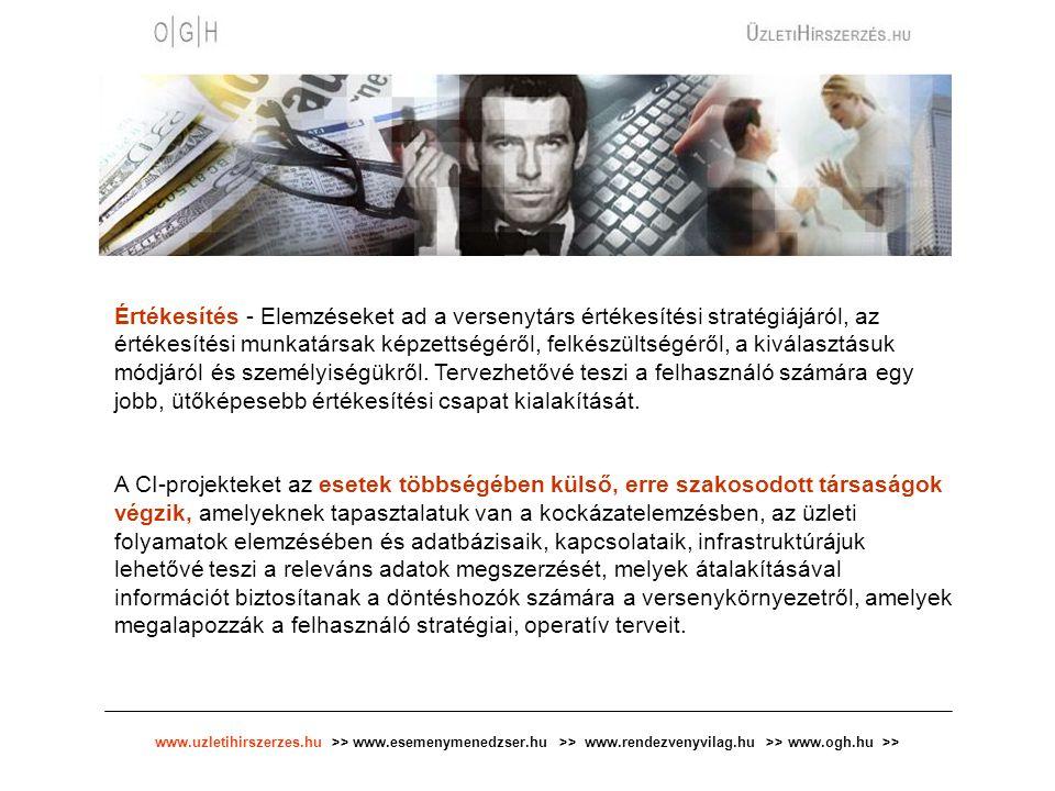 www.uzletihirszerzes.hu >> www.esemenymenedzser.hu >> www.rendezvenyvilag.hu >> www.ogh.hu >> Értékesítés - Elemzéseket ad a versenytárs értékesítési stratégiájáról, az értékesítési munkatársak képzettségéről, felkészültségéről, a kiválasztásuk módjáról és személyiségükről.