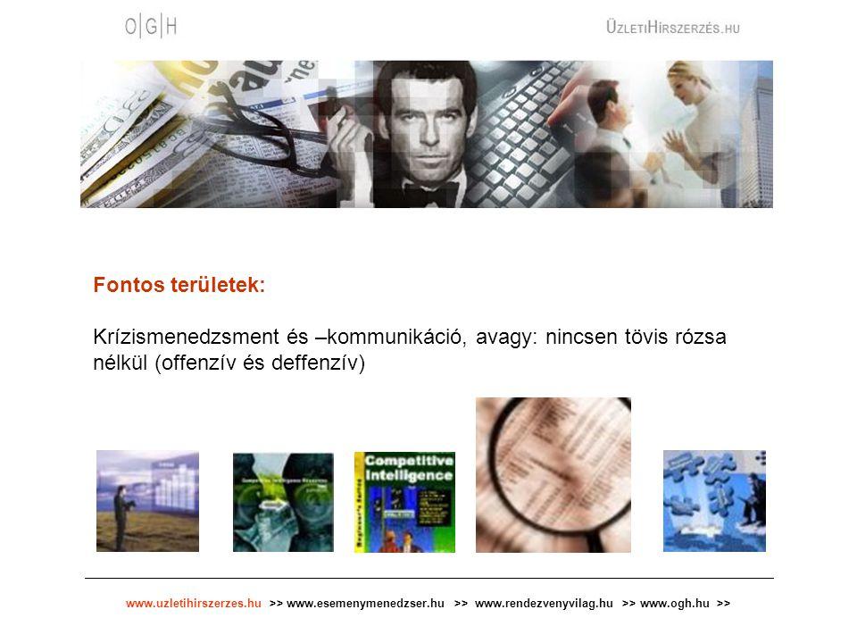 www.uzletihirszerzes.hu >> www.esemenymenedzser.hu >> www.rendezvenyvilag.hu >> www.ogh.hu >> Fontos területek: Krízismenedzsment és –kommunikáció, av