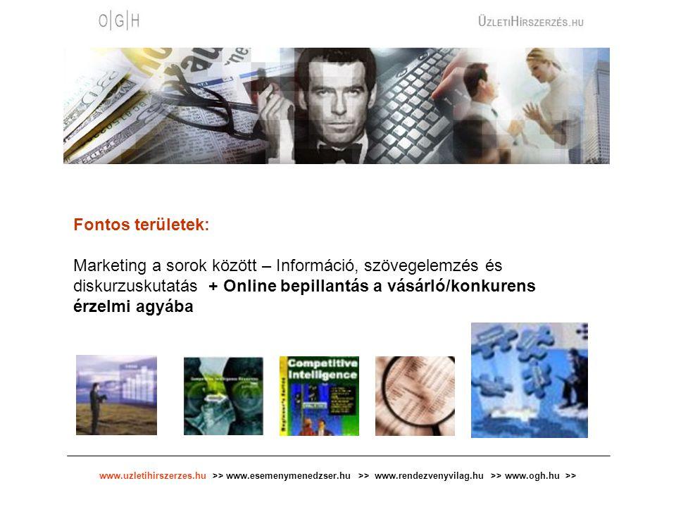 www.uzletihirszerzes.hu >> www.esemenymenedzser.hu >> www.rendezvenyvilag.hu >> www.ogh.hu >> Fontos területek: Marketing a sorok között – Információ, szövegelemzés és diskurzuskutatás + Online bepillantás a vásárló/konkurens érzelmi agyába