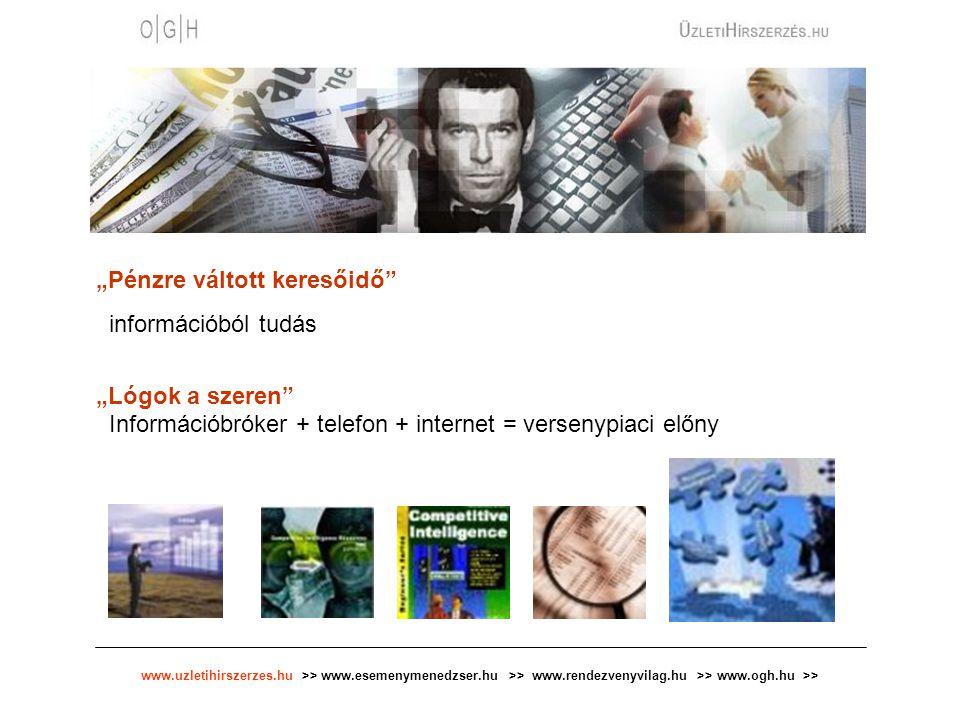 """www.uzletihirszerzes.hu >> www.esemenymenedzser.hu >> www.rendezvenyvilag.hu >> www.ogh.hu >> """"Pénzre váltott keresőidő"""" információból tudás """"Lógok a"""