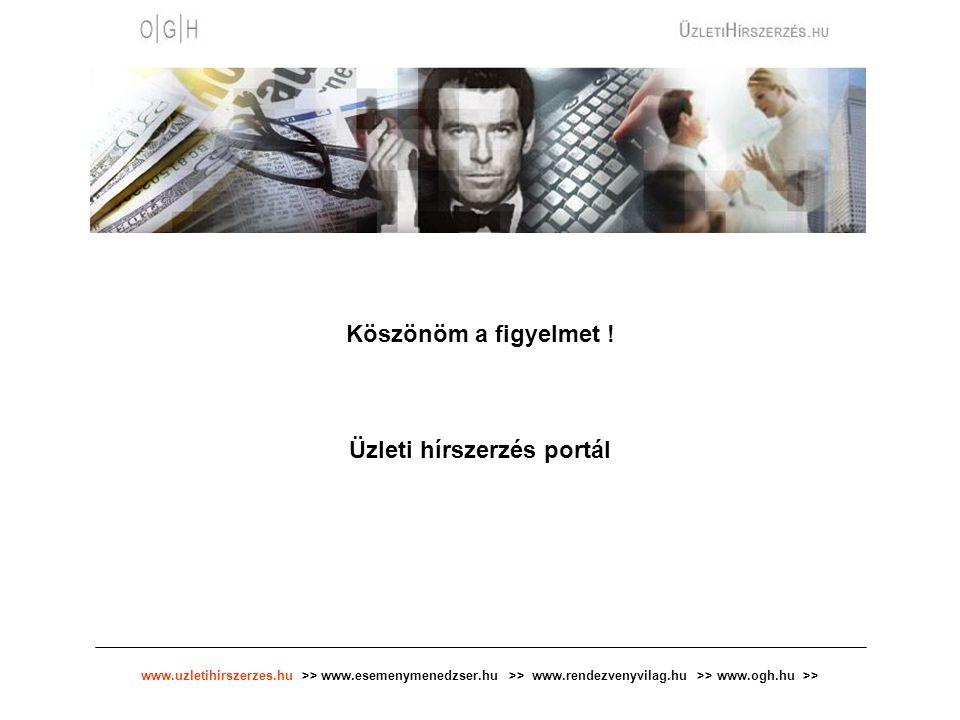 www.uzletihirszerzes.hu >> www.esemenymenedzser.hu >> www.rendezvenyvilag.hu >> www.ogh.hu >> Köszönöm a figyelmet ! Üzleti hírszerzés portál