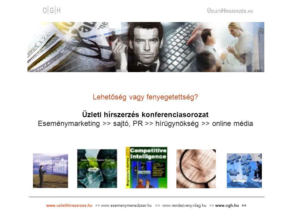 www.uzletihirszerzes.hu >> www.esemenymenedzser.hu >> www.rendezvenyvilag.hu >> www.ogh.hu >> Lehetőség vagy fenyegetettség.
