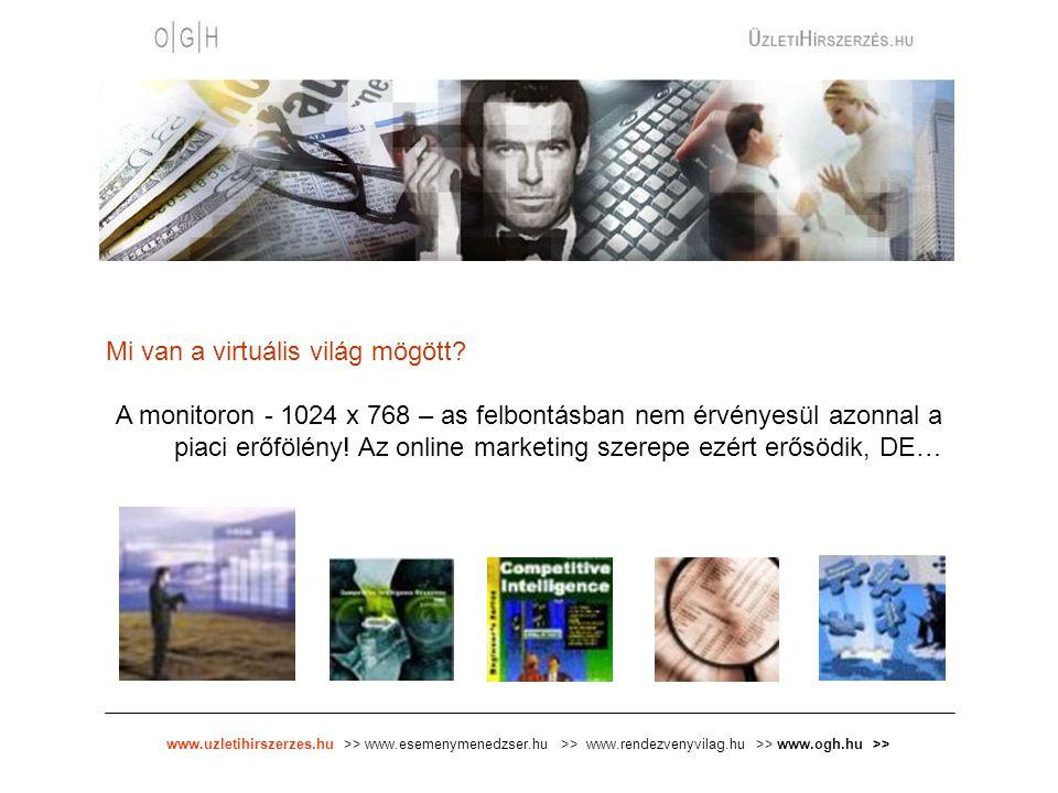 www.uzletihirszerzes.hu >> www.esemenymenedzser.hu >> www.rendezvenyvilag.hu >> www.ogh.hu >> Mi van a virtuális világ mögött? A monitoron - 1024 x 76
