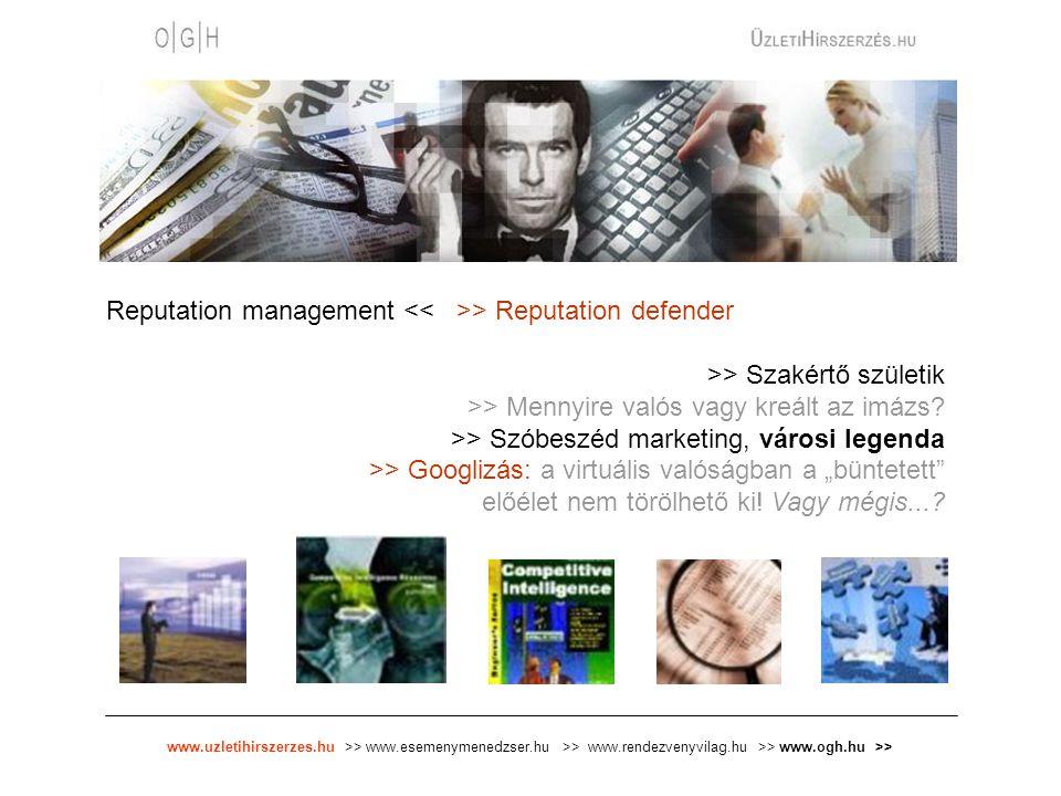 www.uzletihirszerzes.hu >> www.esemenymenedzser.hu >> www.rendezvenyvilag.hu >> www.ogh.hu >> Reputation management > Reputation defender >> Szakértő