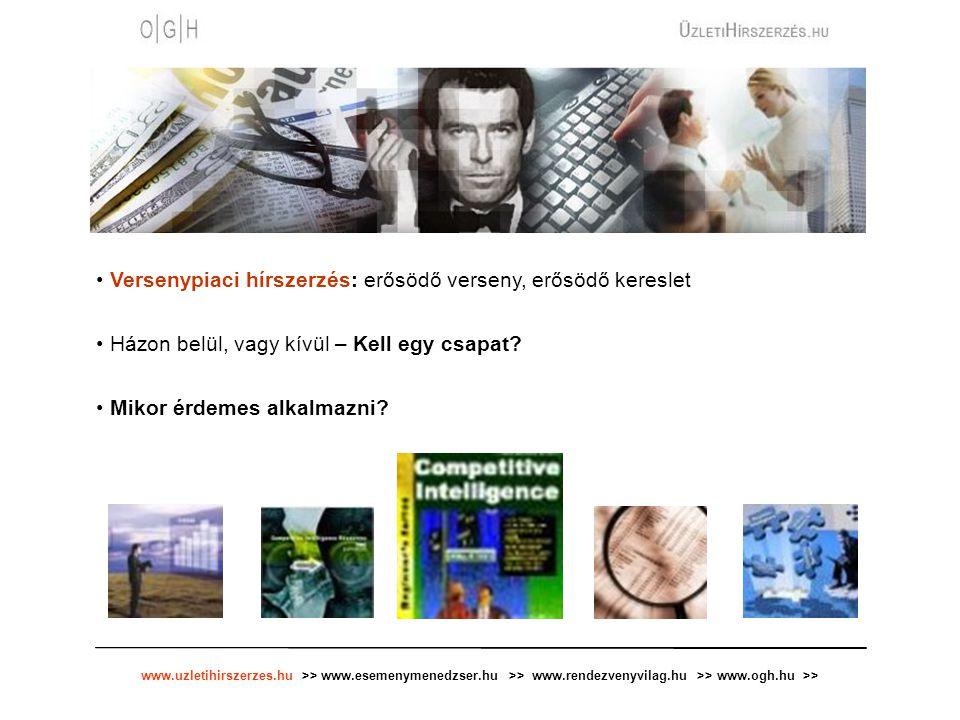 www.uzletihirszerzes.hu >> www.esemenymenedzser.hu >> www.rendezvenyvilag.hu >> www.ogh.hu >> Versenypiaci hírszerzés: erősödő verseny, erősödő keresl