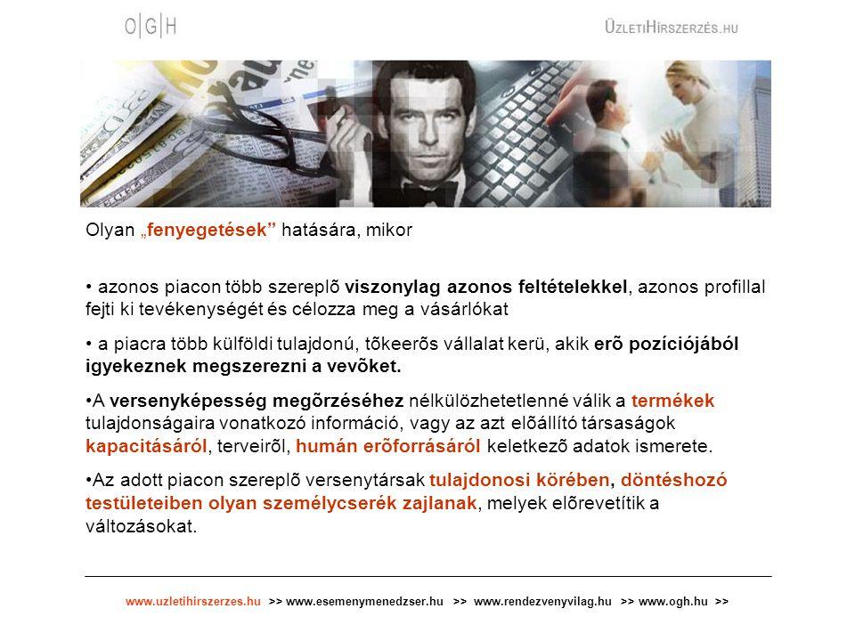 """www.uzletihirszerzes.hu >> www.esemenymenedzser.hu >> www.rendezvenyvilag.hu >> www.ogh.hu >> Olyan """"fenyegetések hatására, mikor azonos piacon több szereplõ viszonylag azonos feltételekkel, azonos profillal fejti ki tevékenységét és célozza meg a vásárlókat a piacra több külföldi tulajdonú, tõkeerõs vállalat kerü, akik erõ pozíciójából igyekeznek megszerezni a vevõket."""