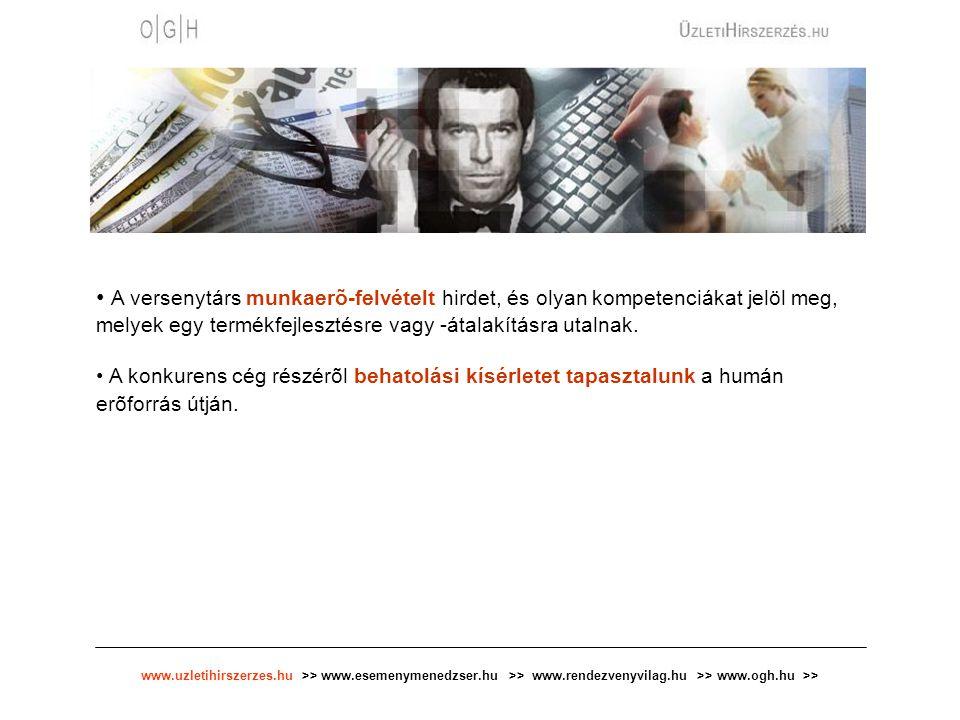 www.uzletihirszerzes.hu >> www.esemenymenedzser.hu >> www.rendezvenyvilag.hu >> www.ogh.hu >> Stratégiai tervezés - Vállalati fúziók, felvásárlások - A versenypiaci hírszerzés képes a döntéshozó számára adatokat, információkat szolgáltatni arra vonatkozóan, hogy ténylegesen mennyire vonzó a célba vett társaság, ott milyen átalakítások szükségesek a piaci versenyhelyzet megalapozottságához.