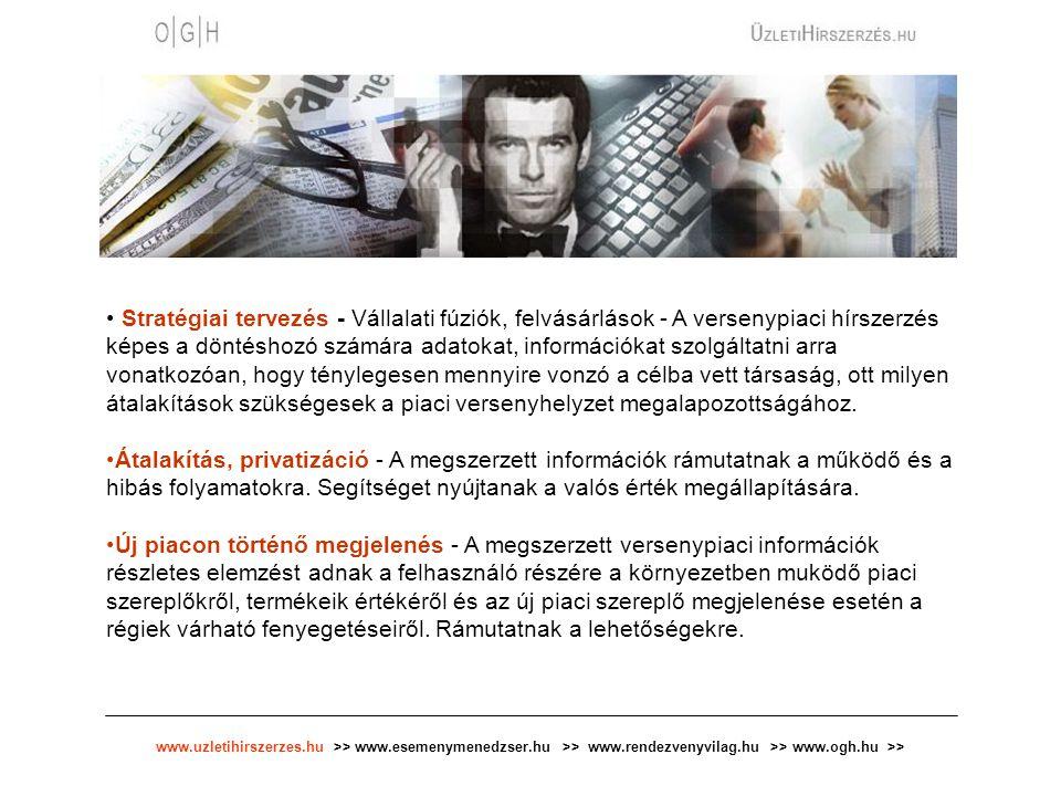 www.uzletihirszerzes.hu >> www.esemenymenedzser.hu >> www.rendezvenyvilag.hu >> www.ogh.hu >> Stratégiai tervezés - Vállalati fúziók, felvásárlások -