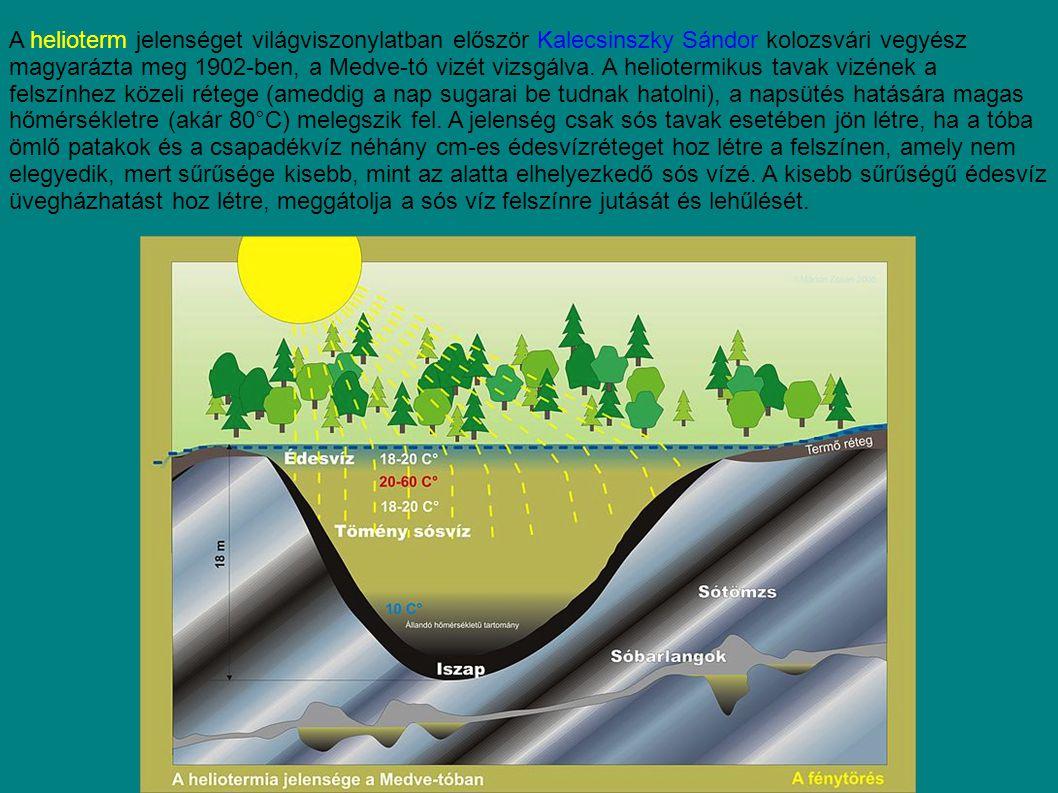 A helioterm jelenséget világviszonylatban először Kalecsinszky Sándor kolozsvári vegyész magyarázta meg 1902-ben, a Medve-tó vizét vizsgálva. A heliot