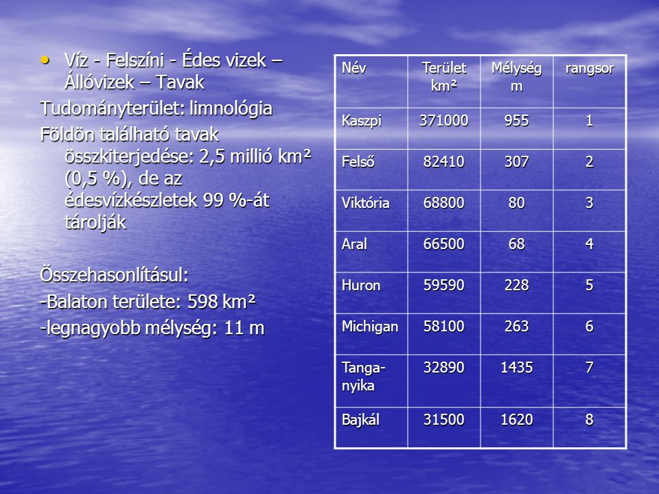 Víz - Felszíni - Édes vizek – Állóvizek – Tavak Víz - Felszíni - Édes vizek – Állóvizek – Tavak Tudományterület: limnológia Földön található tavak öss