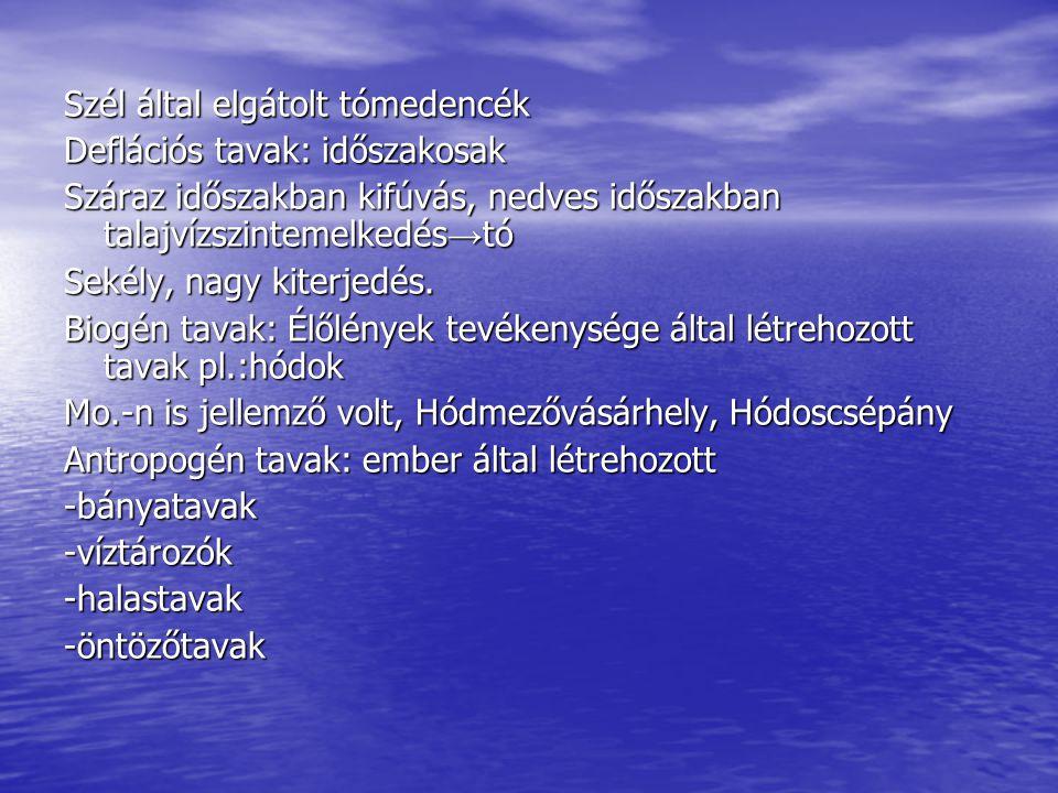 Szél által elgátolt tómedencék Deflációs tavak: időszakosak Száraz időszakban kifúvás, nedves időszakban talajvízszintemelkedés → tó Sekély, nagy kite