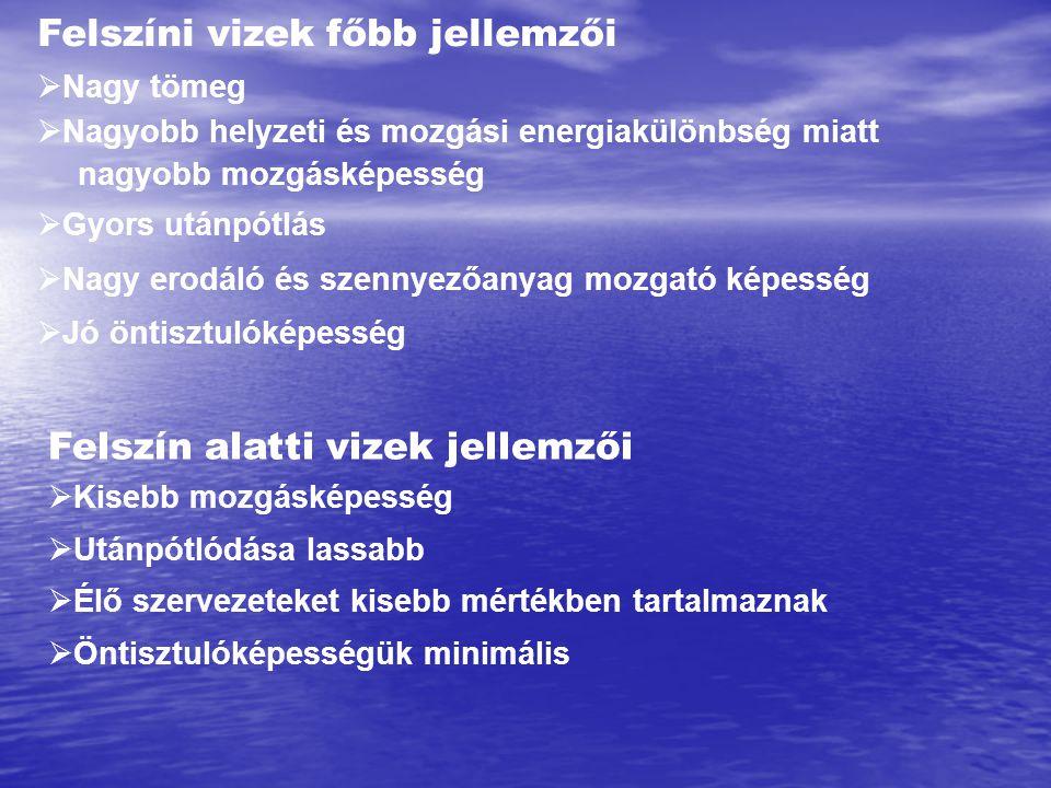 Víz - Felszíni - Állóvizek – Sós vizek – világtengerek – óceánok - tengerek -peremtengerek - tengerek -peremtengerek-beltengerek -sós tavak Sótartalom ( eredet (légkör, vulkanizmus, felszíni mállástermékek), fagyáspont (-2 °C / 35 ezrelék (világtenger átlag)) Óceán def.