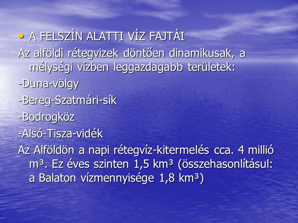 A FELSZÍN ALATTI VÍZ FAJTÁI A FELSZÍN ALATTI VÍZ FAJTÁI Az alföldi rétegvizek döntően dinamikusak, a mélységi vízben leggazdagabb területek: -Duna-völ