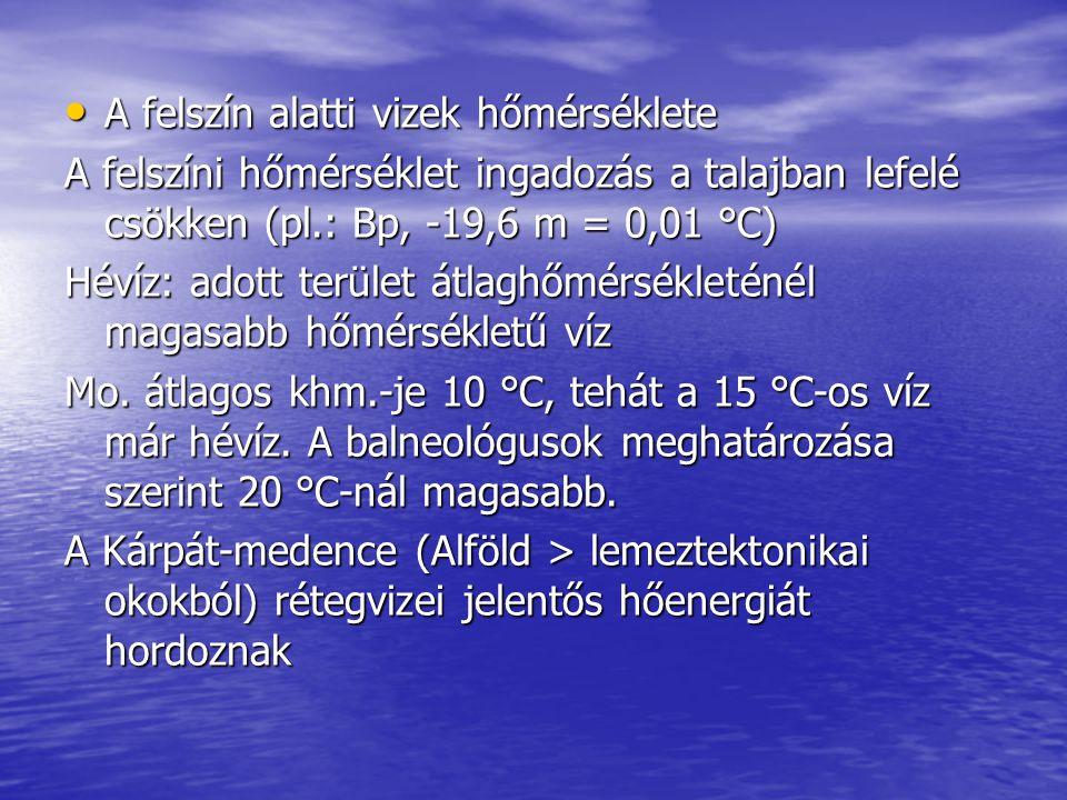 A felszín alatti vizek hőmérséklete A felszín alatti vizek hőmérséklete A felszíni hőmérséklet ingadozás a talajban lefelé csökken (pl.: Bp, -19,6 m =