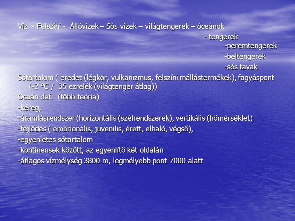 Víz - Felszíni - Állóvizek – Sós vizek – világtengerek – óceánok - tengerek -peremtengerek - tengerek -peremtengerek-beltengerek -sós tavak Sótartalom