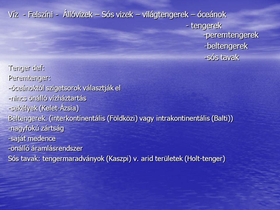 Víz - Felszíni - Állóvizek – Sós vizek – világtengerek – óceánok - tengerek -peremtengerek - tengerek -peremtengerek-beltengerek -sós tavak Tenger def